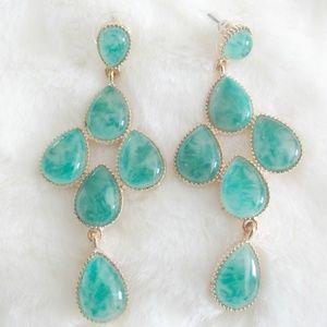 Gold & Faux Jade Earrings